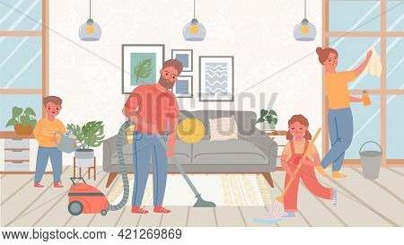 Family Cleaning Living Room. Children Helping Parents With Home Chores, Mopping Floor And Wash Windo