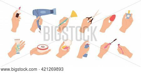 Hands Hold Cosmetic. Female Hairdresser And Stylist Hand With Scissors, Hair Dryer And Beauty Produc