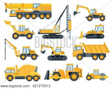 Construction Machines. Heavy Machinery For Build, Excavator, Bulldozer, Truck, Tractor And Crane Veh