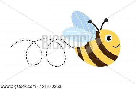 Bee Cartoon Mascot. A Small Bees Flying On A Dotted Route. Wasp Collection. Vector Characters. Inces