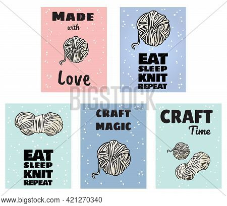 Set Of Handi Craft Postcards. Cotton Yarn And Candles Handicraft Comic Style Doodle Banners. Handmad