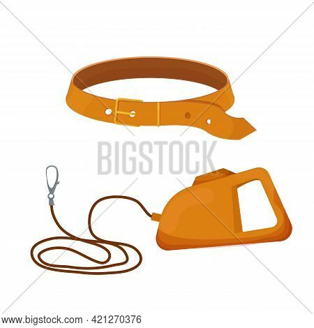 Leash For Dog With Collar In Cartoon Style Isolated On White Background. Vector Icon Of Roulette Lea