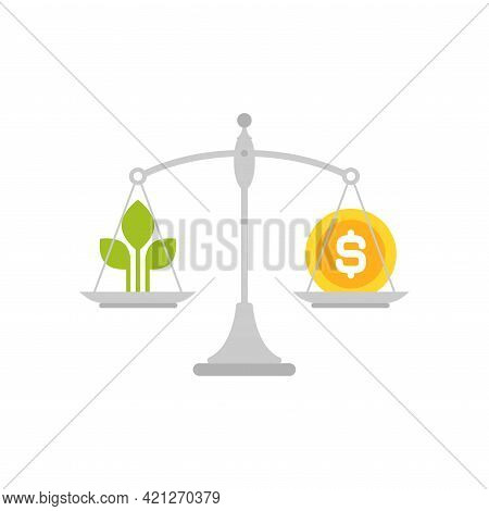 White Mechanical Scales With Leaves And Dollar Coin In Pans. Ecology Law And Costs Balance. Business