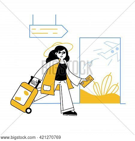 Woman At Airport. Luggage And Baggage. Ticket In Hand. Outline Cartoon Isolated On White. Female Cha