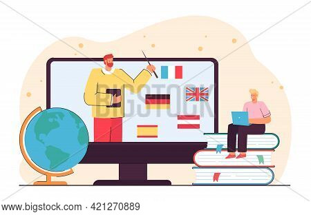 Tiny Man Learning Foreign Languages Online. Flat Vector Illustration. Student Sitting On Giant Books