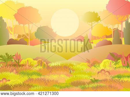 Autumn Rural Beautiful Landscape. Fog. Meadow With Glade. Cartoon Style. Hills With Grass And Red Tr