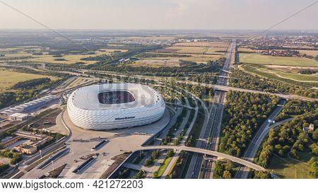 Germany, Munich, August 2018 - Aerial View Of Football Stadium Allianz Arena