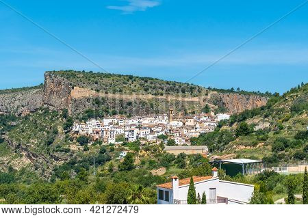 View Of The Beautiful Town Of Chulilla In The Mountains Of The Valencian Community. Spain