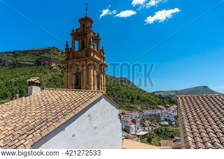 The Beautiful Church Of The Town Of Chulilla And Its Famous Canyon In The Mountains Of The Valencian