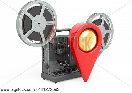 Movie Theater Location Concept. Map Pointer With Film Projector, 3d Rendering Isolated On White Back