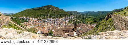 Panoramic From The Castle Of The Town Of Chulilla In The Mountains Of The Valencian Community. Spain