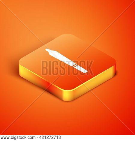 Isometric Marijuana Joint, Spliff Icon Isolated On Orange Background. Cigarette With Drug, Marijuana