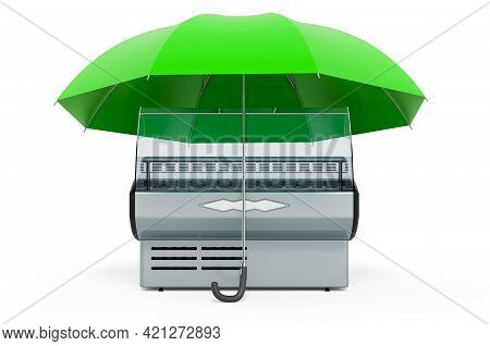 Refrigerated Display Case, Showcase Under Umbrella. 3d Rendering Isolated On White Background