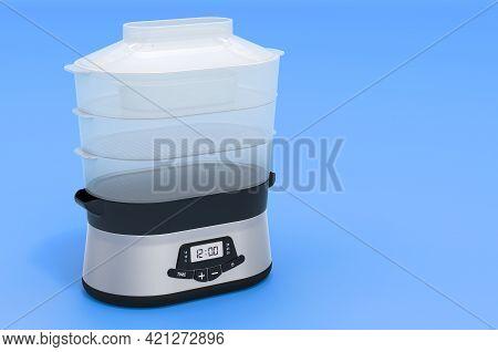 Food Steamer On Blue Background, 3d Rendering