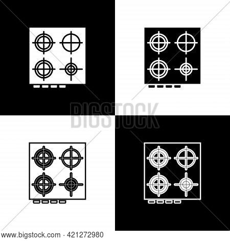 Set Gas Stove Icon Isolated On Black And White Background. Cooktop Sign. Hob With Four Circle Burner