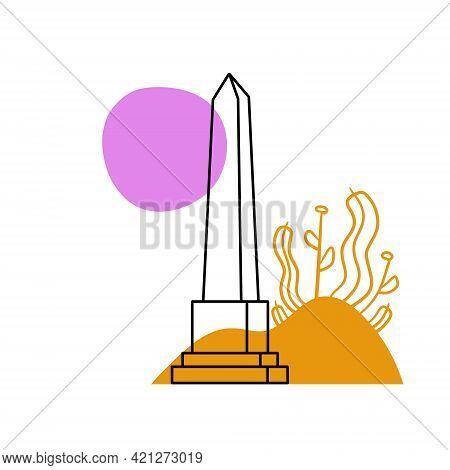 Obelisk. Outline Stone Monument. Historical Monument On Abstract Nature Background. High Pillar Memo