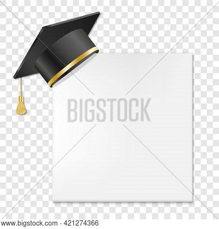 Graduation Cap Or Mortar Board On Paper Corner. Vector Illustration Isolated On Transparent Backgrou