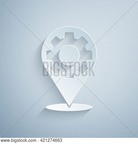 Paper Cut Car Service Icon Isolated On Grey Background. Auto Mechanic Service. Repair Service Auto M