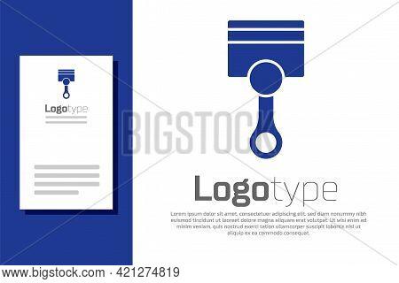 Blue Engine Piston Icon Isolated On White Background. Car Engine Piston Sign. Logo Design Template E