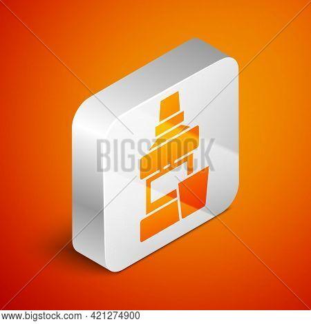 Isometric Mouthwash Plastic Bottle And Glass Icon Isolated On Orange Background. Liquid For Rinsing