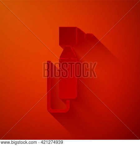 Paper Cut Tooth Drill Icon Isolated On Red Background. Dental Handpiece For Drilling And Grinding To