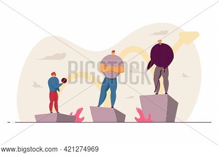 Stages Of Human Maturation Vector Illustration. Boy Growing To Young Man And Aging. Three Milestones