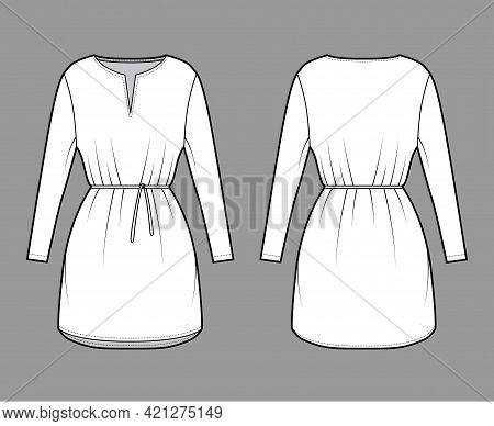 Dress Tunic Technical Fashion Illustration With Tie, Long Sleeves, Oversized Body, Mini Length Skirt