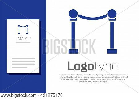 Blue Rope Barrier Icon Isolated On White Background. Vip Event, Luxury Celebration. Celebrity Party