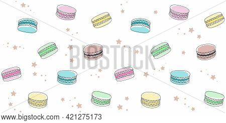 Colored Macaroons And Small Stars On A White. Endless Texture With French Sweet Pastries. Vector Sea