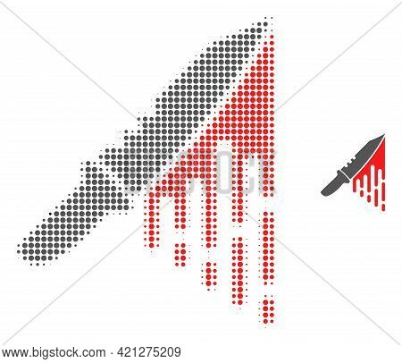 Blood Knife Halftone Dot Icon Illustration. Halftone Array Contains Round Pixels. Vector Illustratio