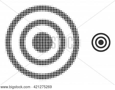 Concentric Circles Halftone Dot Icon Illustration. Halftone Pattern Contains Circle Dots. Vector Ill