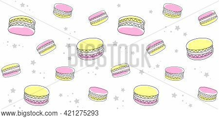 Yellow And Pink Macaroons And Small Stars On A White. Endless Texture With French Sweet Pastries. Ve