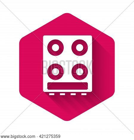 White Gas Stove Icon Isolated With Long Shadow. Cooktop Sign. Hob With Four Circle Burners. Pink Hex