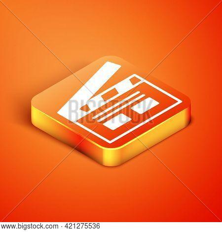 Isometric Bollywood Indian Cinema Icon Isolated On Orange Background. Movie Clapper. Film Clapper Bo