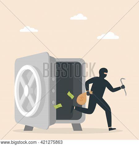 Masked Burglar Stealing Money From An Open Safe. Gangster Theft. Vector Illustration