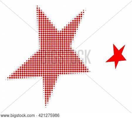 Asymmetrical Star Halftone Dot Icon Illustration. Halftone Pattern Contains Round Pixels. Vector Ill