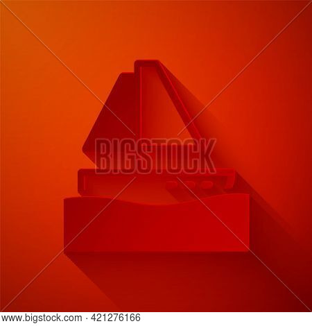Paper Cut Yacht Sailboat Or Sailing Ship Icon Isolated On Red Background. Sail Boat Marine Cruise Tr