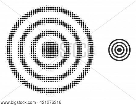 Concentric Circles Halftone Dot Icon Illustration. Halftone Array Contains Circle Points. Vector Ill