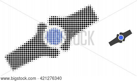 Artificial Bone Joint Halftone Dot Icon Illustration. Halftone Pattern Contains Round Dots. Vector I