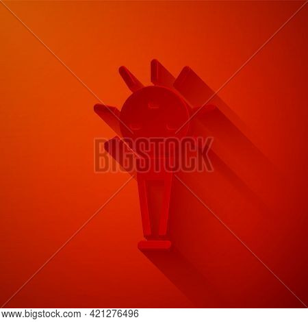 Paper Cut Mace, Symbol Of Ukrainian National Power Icon Isolated On Red Background. Traditional Weap