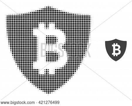 Bitcoin Protection Halftone Dot Icon Illustration. Halftone Array Contains Round Pixels. Vector Illu