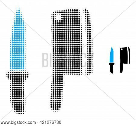 Butchery Knives Halftone Dot Icon Illustration. Halftone Pattern Contains Round Elements. Vector Ill