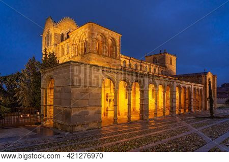 San Vicente Church In The Medieval City Of Avila (world Heritage Site By Unesco) Illuminated At Nigh