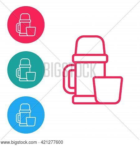 Red Line Thermos Container And Cup Icon Isolated On White Background. Thermo Flask Icon. Camping And