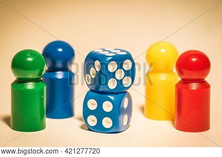 Four Colored Dices And Two Dices Retro Colored Background