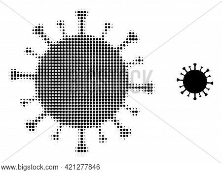 Covid-19 Virus Halftone Dotted Icon Illustration. Halftone Pattern Contains Round Elements. Vector I