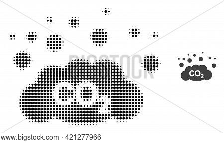 Co2 Gas Emission Halftone Dotted Icon Illustration. Halftone Pattern Contains Round Elements. Vector