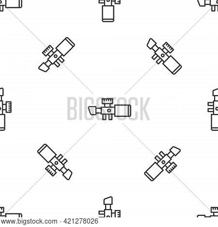 Grey Line Sniper Optical Sight Icon Isolated Seamless Pattern On White Background. Sniper Scope Cros