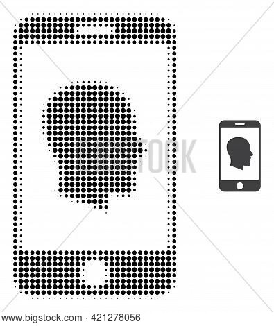 Cellphone Profile Halftone Dot Icon Illustration. Halftone Array Contains Circle Elements. Vector Il