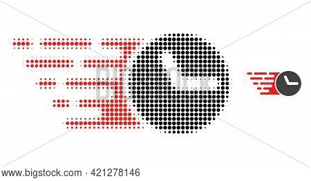 Clock Halftone Dot Icon Illustration. Halftone Array Contains Circle Pixels. Vector Illustration Of